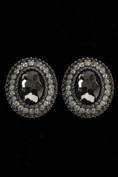Cara Oval Statement Earrings In Black Diamond -