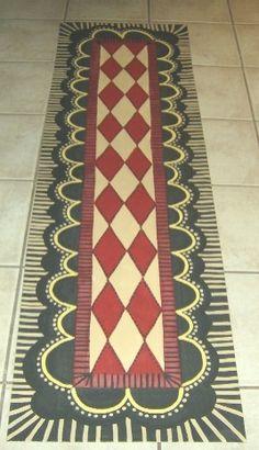 Hand painted floor cloth 3 x 6.