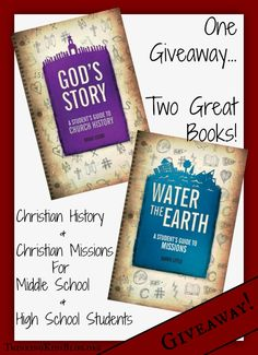 Giveaway!  Enter to win one copy of each: God's Story and Water the Earth. Giveaway ends 9/26/14 at 10am PST.