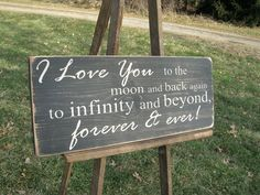 I Love You To The Moon and Back Distressed Wood by primsnposies, $25.00