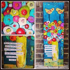 creativ art, art journal, idea, whimsic flower, flower paintings, paintings on wood, whimsical flowers, birds, bird 12