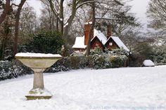 The Bird Bath and Park Keeper's Lodge under Snow, Connaught Park, Connaught Road, Dover, Kent, England, UK. Set on the hillside between Dover Castle and the town in the River Dour valley, this Victorian park contains tennis courts, children's play area, aviary, ornamental lake, flower beds, terrraced lawns, and open grass slopes dotted with trees. A December 2010 Dover in Winter, Nature, Wildlife, Parks and Gardens, Recreation and Sports photo. See: http://www.panoramio.com/photo/44815875