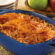 **VERY GOOD! only thing I'd do different, is make the rice ahead of time. PICANTE CHICKEN AND RICE BAKE  Relax...it takes just 10 minutes to put together this kicked-up casserole, and the whole family will be thrilled when it comes out of the oven.