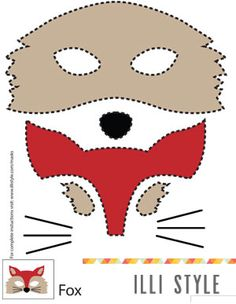 What does the fox say? Printable fox, owl, deer, and raccoon mask templates for Halloween - illistyle.com