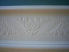 Faux Carved Wainscoting using Paintable Textured Wallpaper