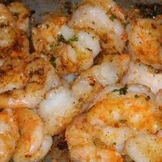 Garlic Parmesan Shrimp   24 large shrimp (peeled and deveined)  1/4 cup olive oil  1/4 cup chopped fresh parsley  3 garlic cloves (minced)  1/2 teaspoon red pepper flakes  1/4 teaspoon black pepper  1/2 cup melted butter  1/2 cup toasted Italian breadcrumbs  1/2 cup freshly grated Parmesan cheese
