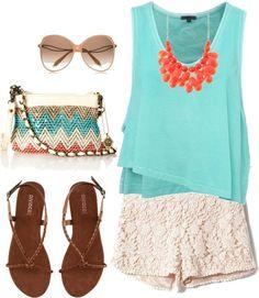 aqua shirt and lace white shorts