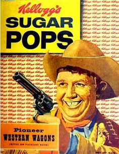 Scary Andy Devine! Sugar Pops cereal c. 1956 creepi breakfast, vintage cereal boxes, breakfast cereal, pop art, john wayne, sugar pop, cereal killer, cereals, blog