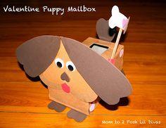Puppy Valentine's Day mailbox from tissue box
