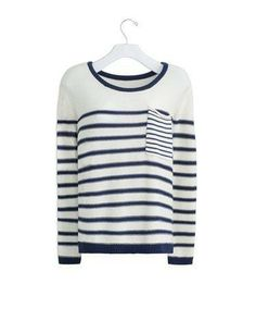 Classic white and navy striped sweater with contrast pocket