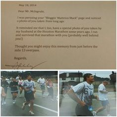 """""""Thanks to my friend Sally who sent me these great photos her husband took when the two of us both ran and completed the Houston Marathon!! Thank you so much for mailing me those photos and your kind letter, Sally! They definitely reminded me of those great years when I was in my prime!!! ;) Have a great day everyone!!"""" Read more on Mattress Mack's blog #HoustonMarathon #Running #Fitness 