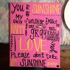 you are my sunshine canvas by CaitlynsCanvas on Etsy, $25.00