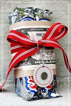 25 gift ideas on iheartnaptime.com - wrap money around a favorite candy bar for a simple gift.
