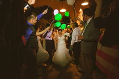 (Well this is a fun idea!) Karl Strauss Brewery Wedding, Wedding exit, glow in the dark balloons