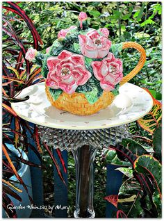 Cottage Rose Teapot Garden Totem Stake  As by GardenWhimsiesByMary