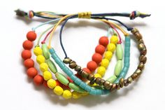 Simple beaded bracelet, but multiple waxed cords held with adjustable knot make it interesting  #handmade #jewelry