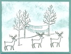 White Christmas stamp set, Lost Lagoon ink