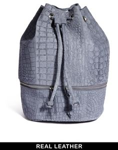 ASOS Leather Backpack In Embossed Croc