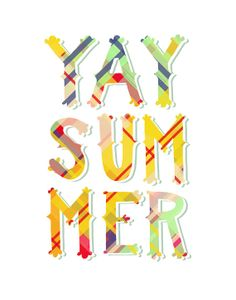 "YAY SUMMER Print: 5""x7"" Wall Art Hand-Lettered Typography Plaid Madras"