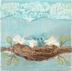 Bird's Nest by Ruth Rae, featured in Explore Mixed Media Collage. Learn #collage techniques at ClothPaperScissors.com!