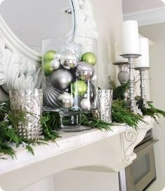 holiday, silver christmas, mercury glass, green christmas, christmas decorations, ornament, christma decor, christmas mantles, christmas mantels