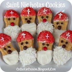 "From ""Catholic Cuisine"" come these ""Saint Nicholas Cookies,"" adapted from the many different Nutter Butter Santa Claus cookies out there."