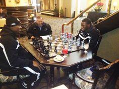UB President Satish K. Tripathi watches @46Mack play chess in hotel lobby in Boise. #HornsUp #uBuffalo #BowlingBulls Join us at: www.buffalo.edu/goubbulls.html