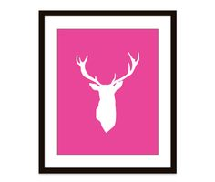 Deer Antlers  Stag  Bright Pink  Art Print Wall Art  by AldariArt, $18.00,#deer, #antlers, #art, #print, #hot, #pink, #magenta, #wall, #art, #chic, #modern, #decor