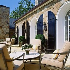 black shutter, patio cushions, window, exterior, decker architect, stone walls, outdoor space, hous, shutters