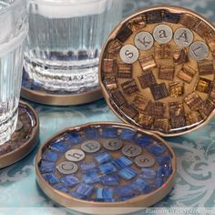 Cocktail coasters with jar lids, mosaic pieces and ice resin