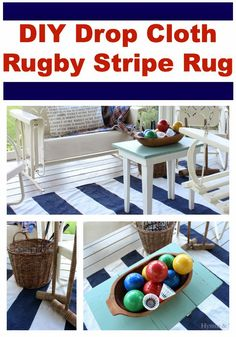 DIY Navy Striped Rug