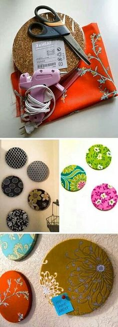 Round Cork boards out of cork trivets, great idea!!!