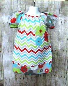 Girls Chevron Peasant Dress Size 3 Ready to Ship by DressSparkle, $34.99