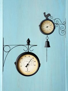 These two-faced thermometers with clocks have the look of a 19th century railway fixture. Left, the Embassy from americanchateau.com, about $50. Right, about $66 from the Outdoor Shop on amazon.com | Photo: Yunhee Kim | thisoldhouse.com product, clock, old houses, holiday gifts, deck, toh holiday, gift guid