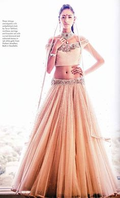 Verve India features a charming Tarun Tahiliani lehenga from the Autumn Winter '14 Occasionwear collection in the September, 2014 issue.  #TarunTahiliani #VerveIndia #AutumnWinter #Occasionwear #September