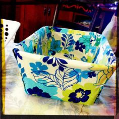 DIY Fabric Covered Bins Using Dollar Store Plastic Baskets