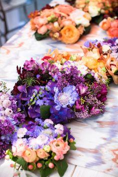 Luxury Floral Tablescape floral centerpieces, ombre, tabl runner, floral design, color, purple flowers, wedding centerpieces, table runners, floral tablescap