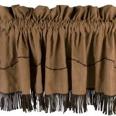 "Micro Suede Barbed Wire #Western #Valance with Fringe 84"" x 18"" #DelectablyYours #WesternDecor"