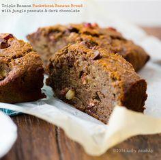 Triple Banana, Dark Chocolate, Peanut Buckwheat-Banana Bread via @healthy-happy-life/ // #Banana #buckwheat #bananabread #darkchocolate