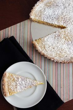Meyer lemon tart with a lavender shortbread crust