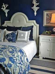 Deep Blue Beachy Bedroom --> http://www.hgtv.com/bedrooms/coastal-inspired-bedrooms/pictures/page-16.html?soc=pinterest
