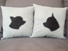 DIY pet silhouette pillows