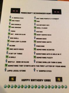 Minecraft Birthday Party Scavenger Hunt, enderman piniata, free cube printable link, food list ideas