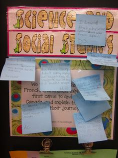 "Reflecting on daily learning goals - using sticky notes as an ""exit slip"" at the end of the day (or lesson)."