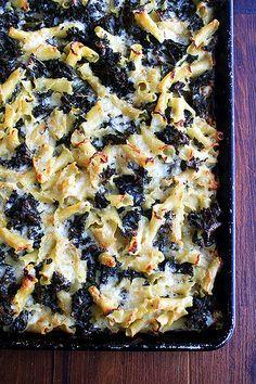 sheet pan pasta gratin with kale
