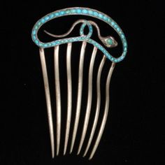 Snake Comb Silver & Turquoise Victorian