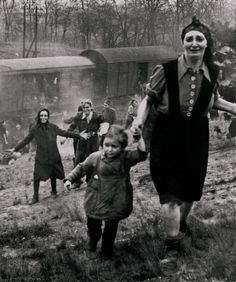 Jewish prisoners at the moment of their release from an internment camp 'death train' ... 1945