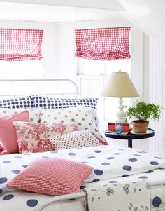 polka dots and gingham=love gingham, polka dots, pattern, color, duvet covers, red white blue, guest rooms, bedroom, girl rooms