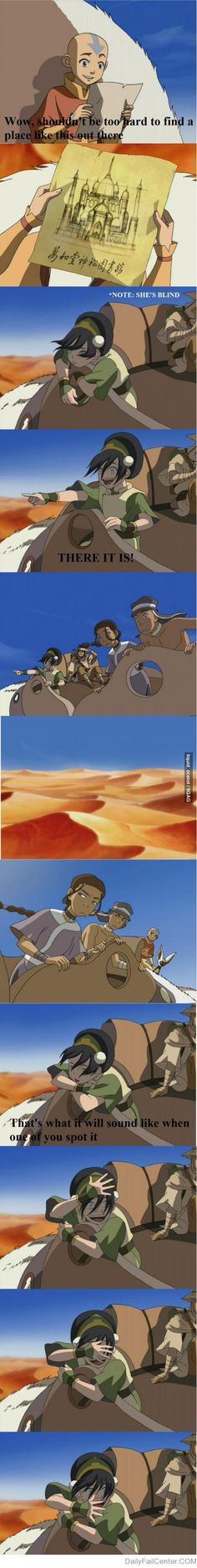 Toph hahahah miss this show... they should not have to note that she is blind, PEOPLE SHOULD KNOW THAT!!!!!!