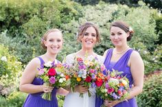 Wild flower style bouquets Purple Dresses, Summer Wedding, Bridemaids Dresses, Flowers Style, Outdoor Wedding Photography, Bouquets Wedding Meadow, Flowers Ideas, Bright Flowers, Colors Bouquets